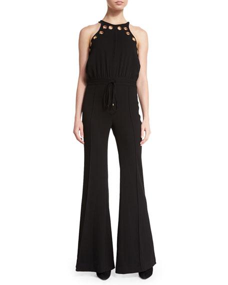 Sleeveless Grommet Jumpsuit, Black