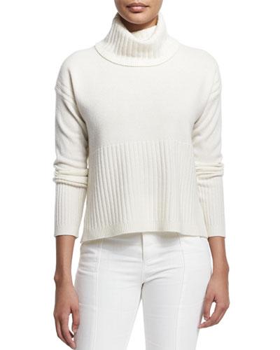 Cashmere Ribbed-Trim Turtleneck Sweater, Soft White