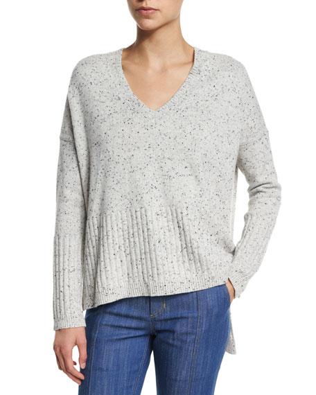 Speckled Cashmere V-Neck Sweater, Gray Melange