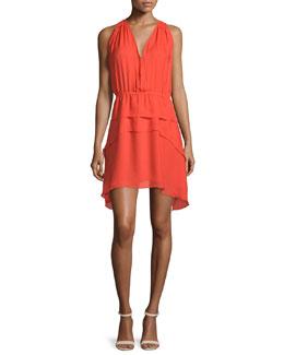 Sleeveless Tiered Silk Dress, Orange