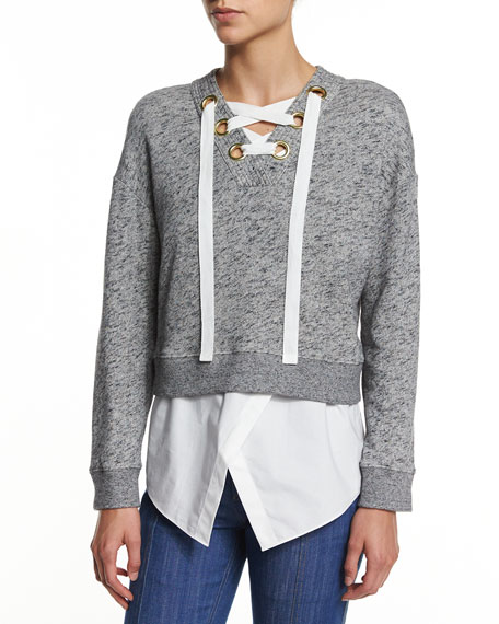 2-in-1 Cotton V-Neck Sweatshirt, Gray Melange