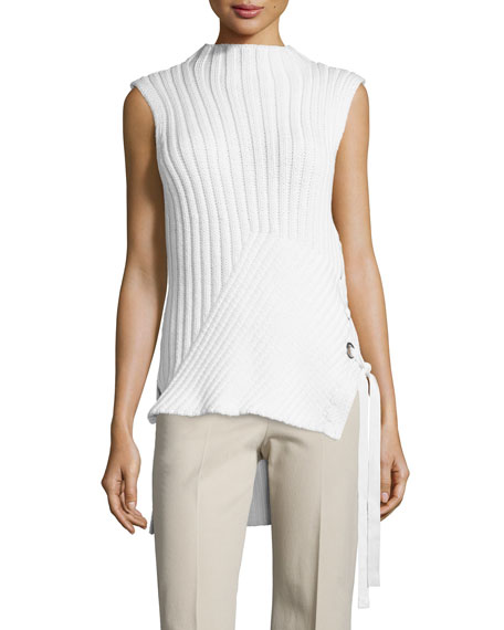 Sleeveless Ribbed-Knit Sweater, Soft White