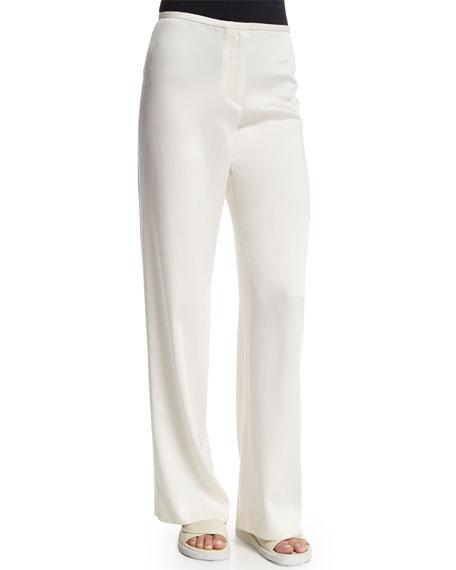 Woven Wide-Leg Pants, Ivory