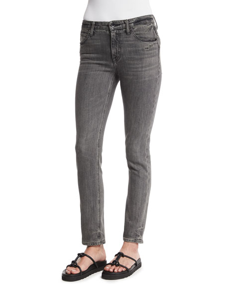 Skinny Denim Ankle Jeans, Light Gray