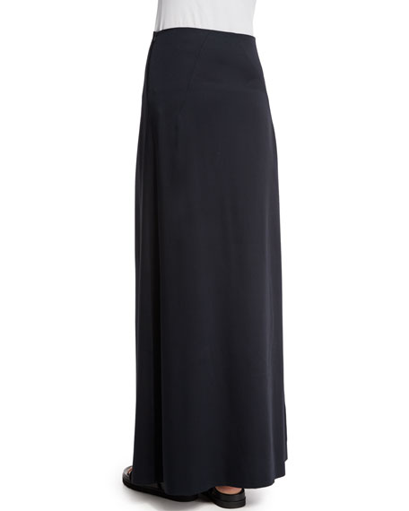 Woven Bias-Cut Maxi Skirt, Black