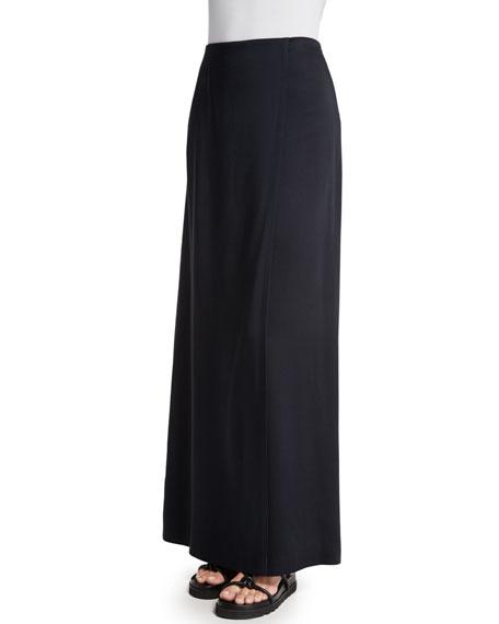 Woven Bias-Cut Maxi Skirt, Black