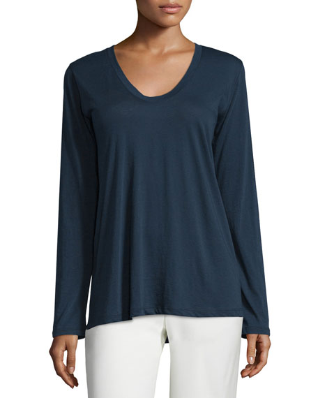 Long-Sleeve Scoop-Neck Jersey Tee, Indigo