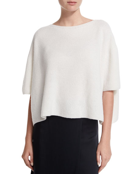 Cropped Boxy Cashmere Sweater, White