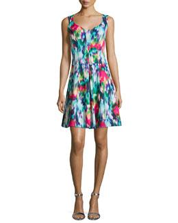 Sleeveless Floral-Print A-line Dress