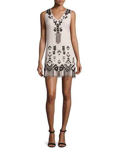 Embroidered Sheath Dress W/Fringe, Buff