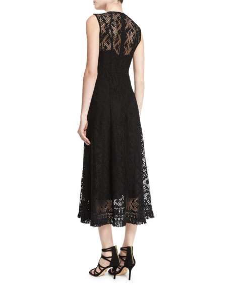 Sleeveless Beaded-Front Lace Dress