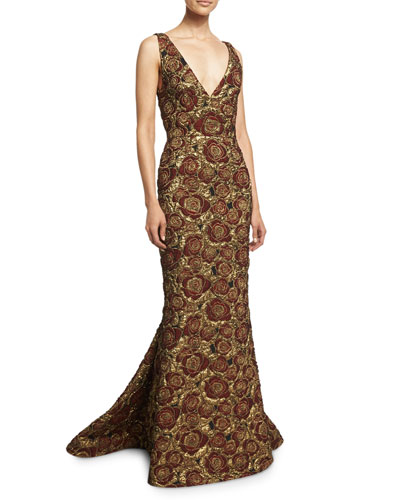 Marlee Sleeveless Floral Mermaid Gown