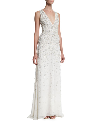 Desirae Sleeveless Deep V-Neck Embellished Gown