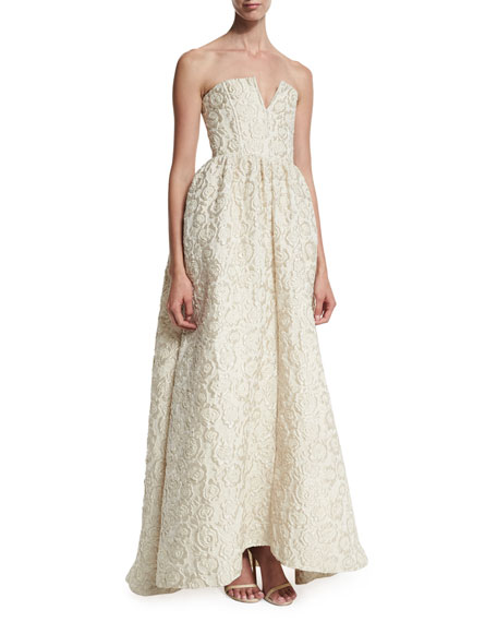 Axmis Strapless Floral Jacquard Gown