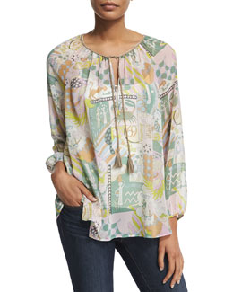 Deva Long-Sleeve Multi-Print Top, Tranquil