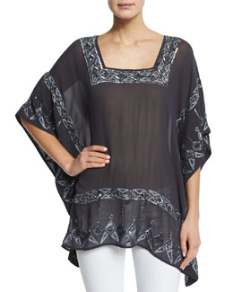 Metrisa 3/4-Sleeve Embellished Top, Black