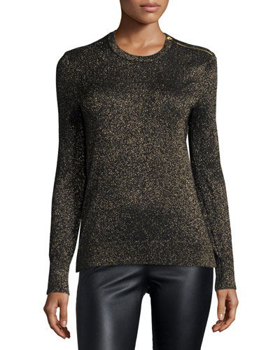 Ondine Jewel-Neck Metallic Top, Black/Gold