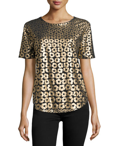 Riley Metallic Floral-Print Tee, True Black/Gold