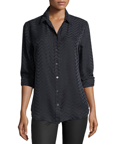 Reese Button-Front Chevron Blouse, Black