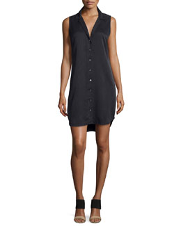 Adalyn Sleeveless Silk Shirtdress, Black