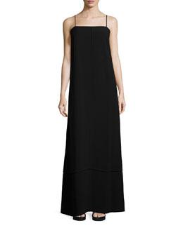 Sleeveless Crepe Maxi Dress, Black