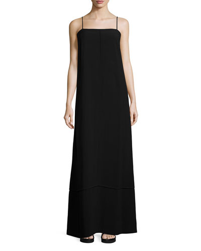 Sleeveless Crepe Maxi Dress, Black