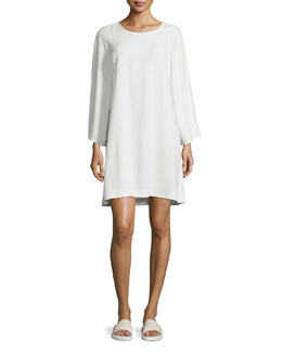 Long-Sleeve Crepe Shift Dress, Ivory