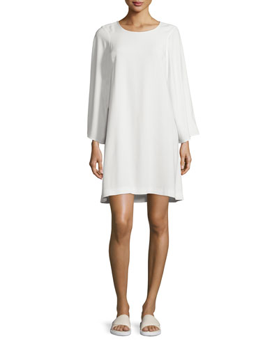 Long-Sleeve Crepe Shift Dress, Ivory