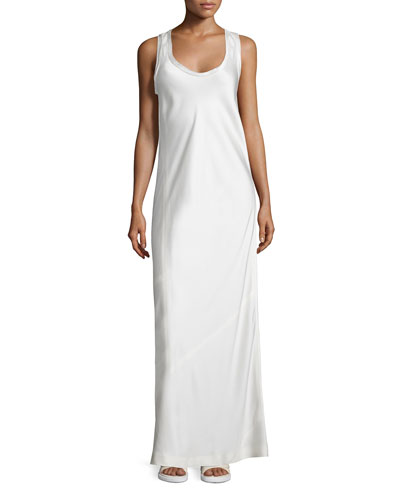 Satin Racerback Maxi Dress, Ivory