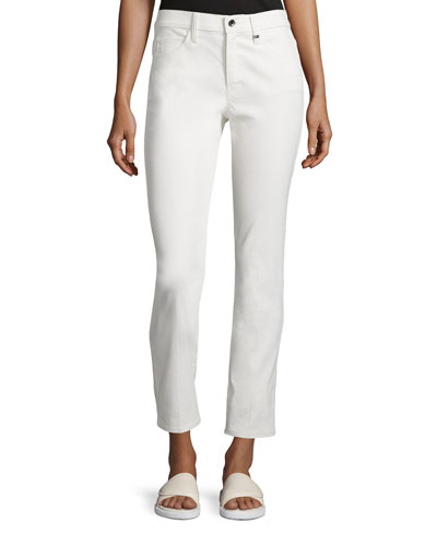 Skinny Mid-Rise Ankle Jeans, Ivory