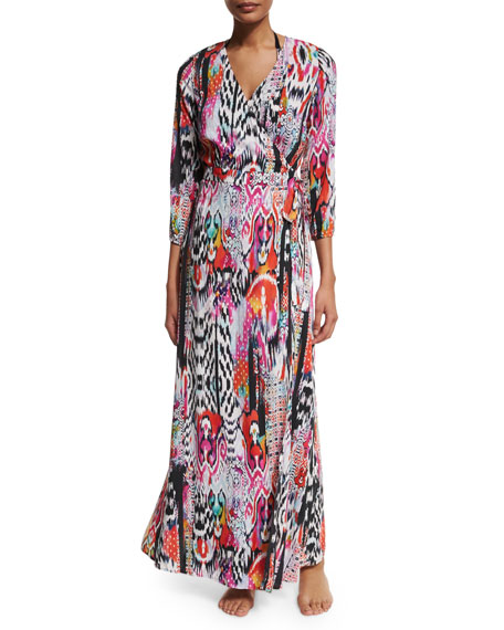 Beach Gypsy Printed Wrap Maxi Coverup