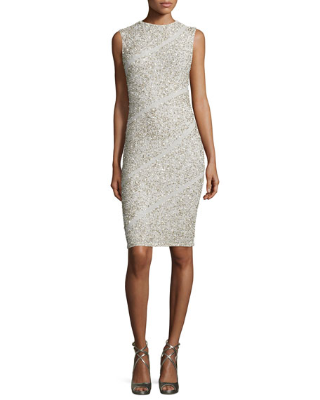 Sitara Embellished Sheath Dress, Cream