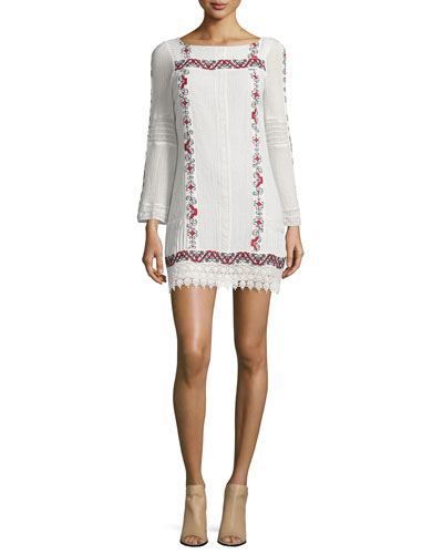 Riska Embroidered Mini Dress, Multi Colors