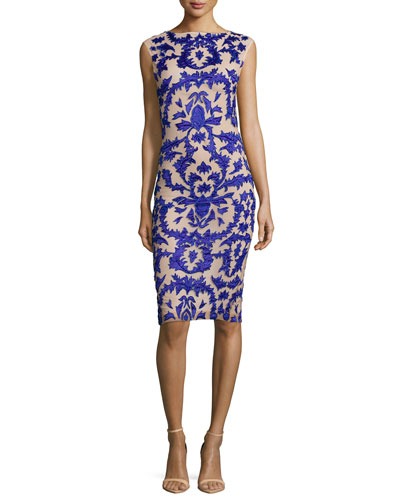 Tamika Embellished Sheath Dress, Blue