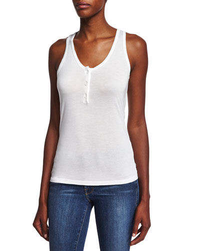 Le Henley Scoop-Neck Tank, Blanc