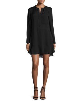 Montana Long-Sleeve Silk Flounce Dress, Midnight