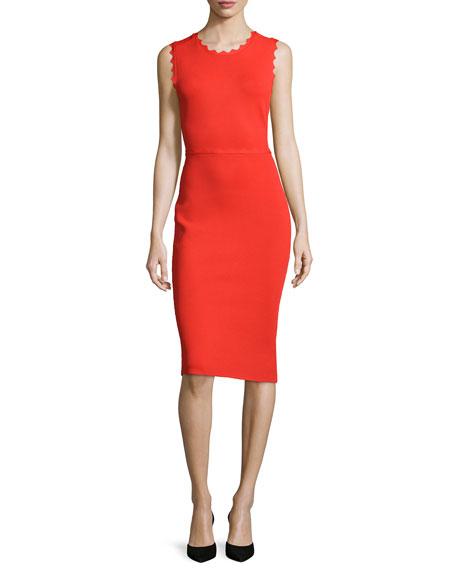 Aldridge Scalloped Sheath Dress, Red