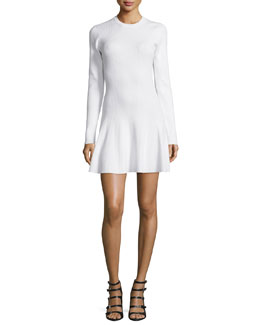 Miriam Long-Sleeve A-Line Knit Dress, White