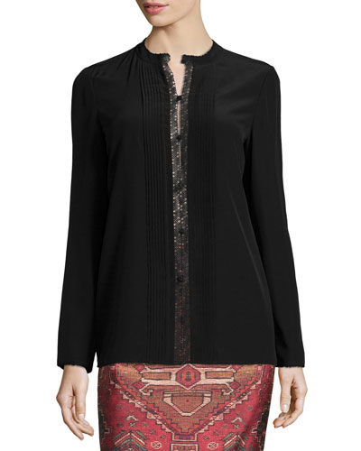 Pleated Silk Shirt