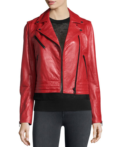Chrystie Leather Moto Jacket, Red