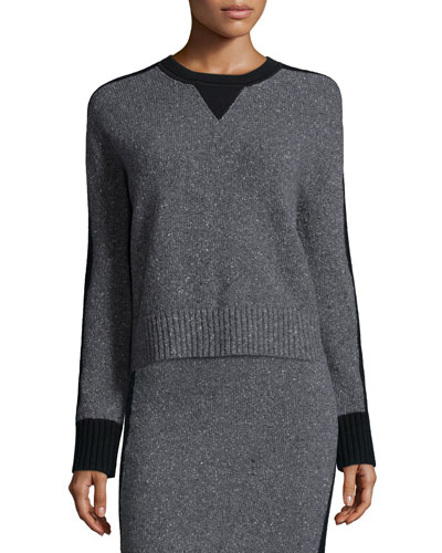 Nina Two-Tone Sweater, Charcoal