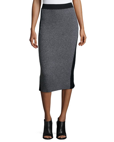 Nina Two-Tone Pencil Skirt, Charcoal
