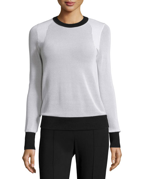 Shea Long-Sleeve Two-Tone Pullover, White