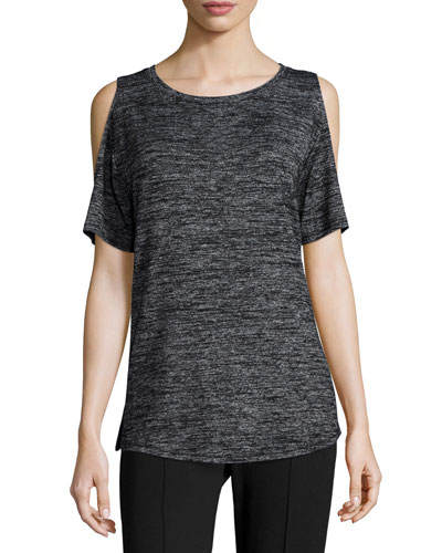 Show-Off Cold-Shoulder Tee, Black Heather
