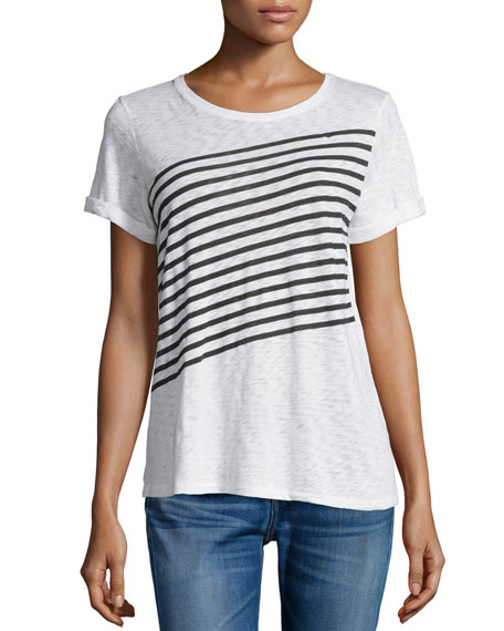 Striped Short-Sleeve Tee, Bright White