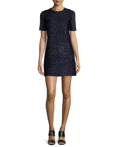 Short-Sleeve Tinsel Shift Dress