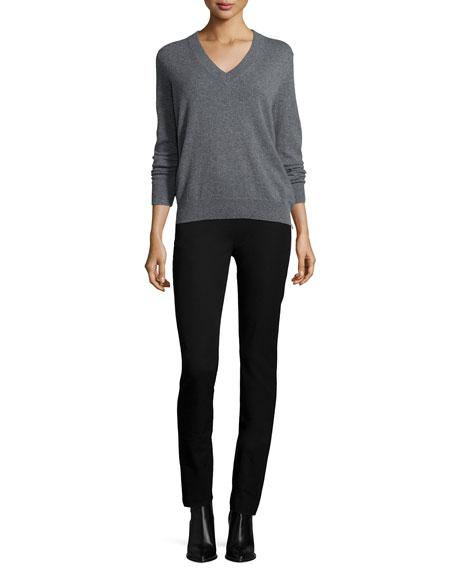 Side-Zip Slim Stretch Pants, Black