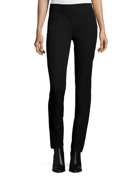 Side-Zip Slim Stretch Pants, Black