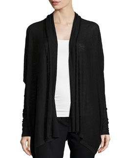 Cashmere Long Open-Front Cardigan, Black