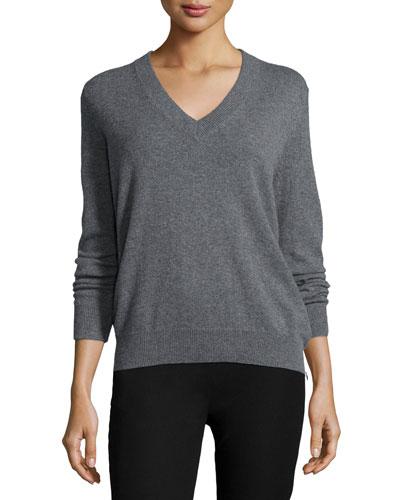 Cashmere V-Neck Sweater, Gray